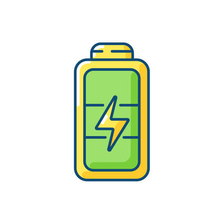 Full battery RGB color icon. Getting max capacity for full day. Maximum power for device. One hundred percetage level. Isolated vector illustration Illusztráció