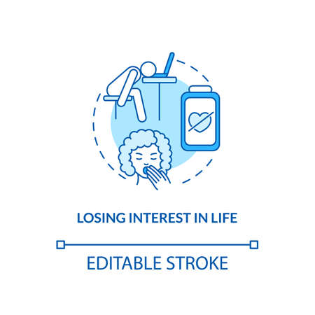 Losing interest in life concept icon. SAD symptom idea thin line illustration. Inability to feel pleasure. Motivation loss. Life quality. Vector isolated outline RGB color drawing. Editable stroke