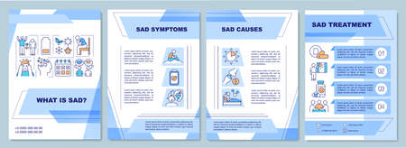 What is sad brochure template. Sad symptoms and causes. Flyer, booklet, leaflet print, cover design with linear icons. Vector layouts for magazines, annual reports, advertising posters