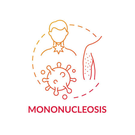 Mononucleosis concept icon. Viral sore throat cause idea thin line illustration. Head and body aches. Rash and fever. Compromised immune system. Vector isolated outline RGB color drawing
