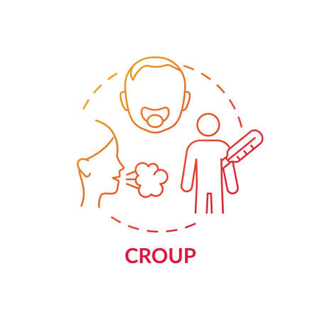 Croup concept icon. Respiratory infection idea thin line illustration. Swelling inside trachea. Trouble breathing. Upper airway disease. Parainfluenza virus. Vector isolated outline RGB color drawing