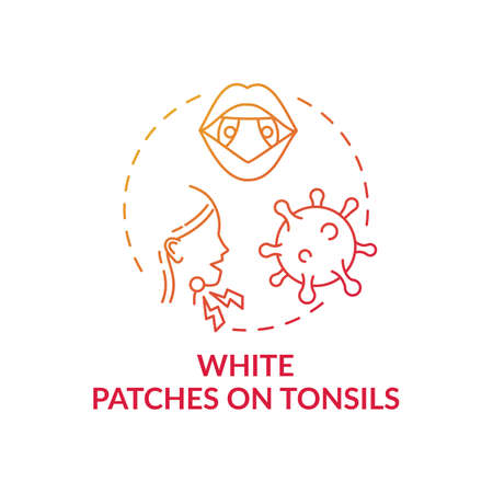 White patches on tonsils concept icon. Tonsillitis sign idea thin line illustration. White pus-filled spots. Strep throat and pneumococcus. Calcium deposits. Vector isolated outline RGB color drawing