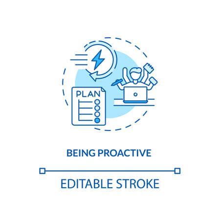 Being proactive concept icon. Tips to ease SAD idea thin line illustration. Taking responsibility for life and actions. Time management. Vector isolated outline RGB color drawing. Editable stroke