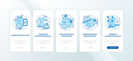 SAD signs onboarding mobile app page screen with concepts. Losing interest in life, feeling agitated walkthrough 5 steps graphic instructions. UI vector template with RGB color illustrations