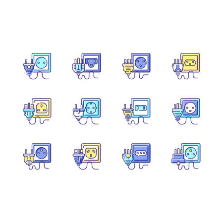Sockets RGB color icons set. Power outlet types. Unplug cables from electricity source. Voltage for home appliance. Universal wires types. Energy generation. Isolated vector illustrations Vecteurs