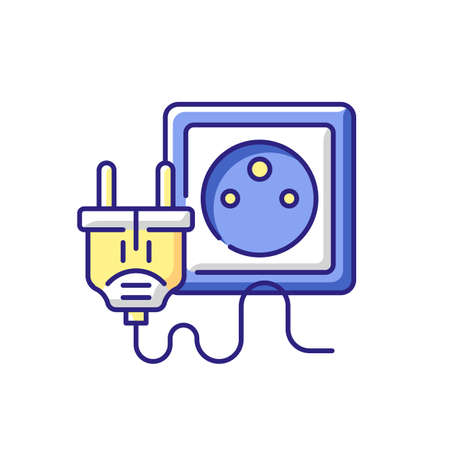 Electrical plug for tech RGB color icon. Type K cable for socket. Unplug appliance. Electrical cord. Power supply, energy generation. Electricity connection. Isolated vector illustration
