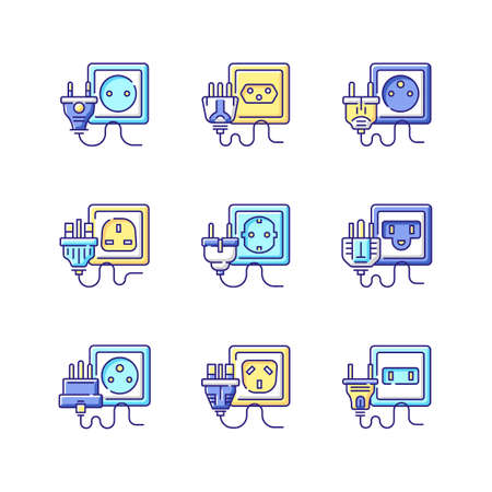 Different power outlets RGB color icons set. Sockets with multiple pins. Electricity cables for household appliance. Cable types. Industrial wires unplugged. Isolated vector illustrations Vecteurs