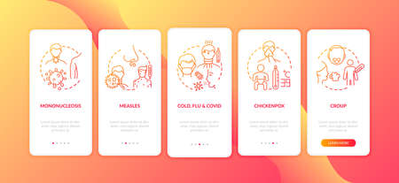 Viral throat inflammation causes onboarding mobile app page screen with concepts. Mononucleosis, croup walkthrough 5 steps graphic instructions. UI vector template with RGB color illustrations