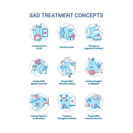 SAD treatment concept icons set. Mental health disorder idea thin line RGB color illustrations. Losing interest in life. Feeling sluggish, agitated. Vector isolated outline drawings. Editable stroke