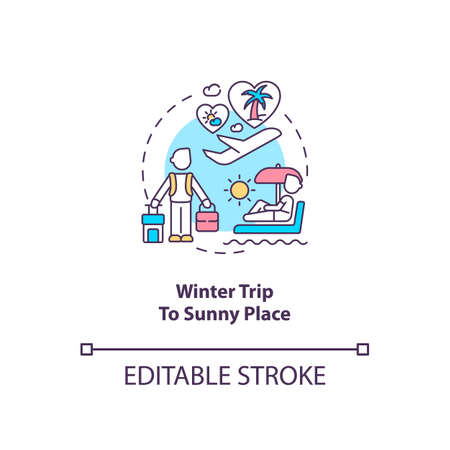 Winter trip to sunny place concept icon. Tips to ease SAD idea thin line illustration. Seeking refuge in sun. Treating winter blues. Vector isolated outline RGB color drawing. Editable stroke