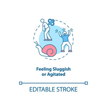 Feeling sluggish and agitated concept icon. SAD symptom idea thin line illustration. Anxiety feelings. Emotional distress and upheaval. Vector isolated outline RGB color drawing. Editable stroke