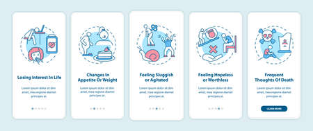 SAD symptoms onboarding mobile app page screen with concepts. Losing interest in life, feeling sluggish walkthrough 5 steps graphic instructions. UI vector template with RGB color illustrations