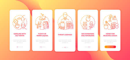 Throat inflammation treatment onboarding mobile app page screen with concepts. Gargling, throat lozenges walkthrough 5 steps graphic instructions. UI vector template with RGB color illustrations 向量圖像