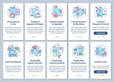 Seasonal affective disorder symptoms onboarding mobile app page screen with concepts set. High-risk groups walkthrough 5 steps graphic instructions. UI vector template with RGB color illustrations