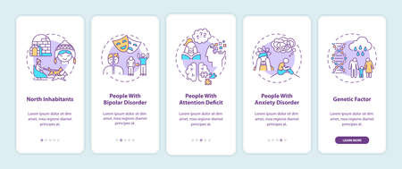 SAD risk groups onboarding mobile app page screen with concepts. North inhabitants, attention deficit walkthrough 5 steps graphic instructions. UI vector template with RGB color illustrations 向量圖像