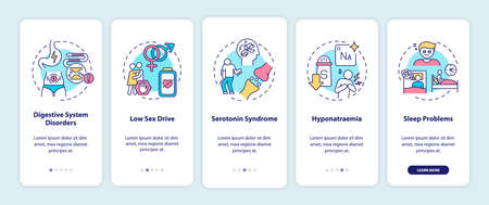 Antidepressants side effects onboarding mobile app page screen with concepts. Digestive, sleep disorders walkthrough 5 steps graphic instructions. UI vector template with RGB color illustrations 向量圖像