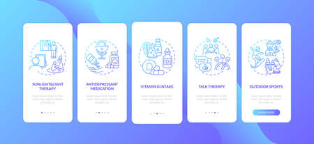 SAD treatment onboarding mobile app page screen with concepts. Antidepressant drugs, vitamin D intake walkthrough 5 steps graphic instructions. UI vector template with RGB color illustrations