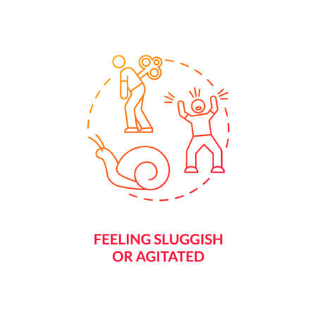 Feeling sluggish and agitated concept icon. SAD symptom idea thin line illustration. Anxiety feelings. Excessive worrying. Emotional distress and upheaval. Vector isolated outline RGB color drawing