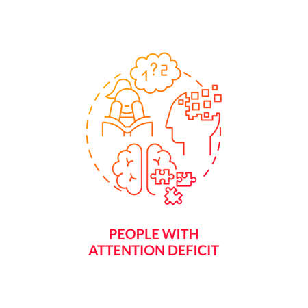 People with attention deficit concept icon. SAD risk group idea thin line illustration. Difficulty regulating emotions. ADHD. Impulsive behaviors. Vector isolated outline RGB color drawing