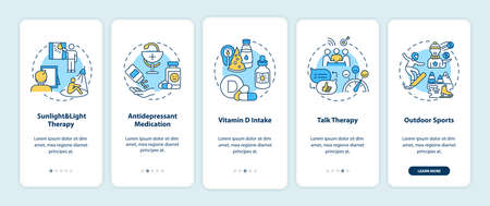 SAD treatment onboarding mobile app page screen with concepts. Sunlight and light therapy, vitamin D intake walkthrough 5 steps graphic instructions. UI vector template with RGB color illustrations