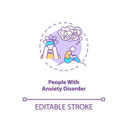 People with anxiety disorder concept icon. SAD risk group idea thin line illustration. Persistent worry. Social phobia, panic attacks. Vector isolated outline RGB color drawing. Editable stroke Vektorové ilustrace