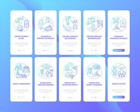 SAD signs onboarding mobile app page screen with concepts set. Winter blues high-risk groups walkthrough 5 steps graphic instructions. UI vector template with RGB color illustrations 向量圖像