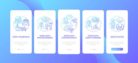 SAD risk groups onboarding mobile app page screen with concepts. Bipolar disorder, attention deficit walkthrough 5 steps graphic instructions. UI vector template with RGB color illustrations 向量圖像