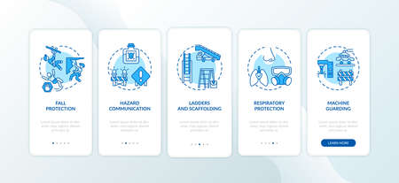 Top workplace safety violations onboarding mobile app page screen with concepts. Hazard communication walkthrough 5 steps graphic instructions. UI vector template with RGB color illustrations