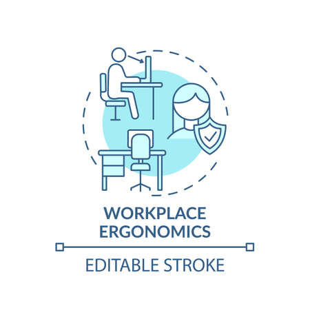 Workplace ergonomics concept icon. Workplace safety concerns. Keeping all capabilities for business idea thin line illustration. Vector isolated outline RGB color drawing. Editable stroke