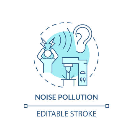Noise pollution concept icon. Workplace safety concerns. Damaging your ears while on job. Quite work place idea thin line illustration. Vector isolated outline RGB color drawing. Editable stroke