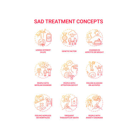 SAD treatment concept icons set. Mental health disorder idea thin line RGB color illustrations. Anxiety disorder. Frequent death thoughts. Feeling sluggish, agitated. Vector isolated outline drawings Illustration