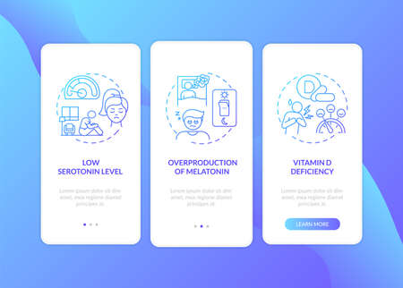 Winter blues causes onboarding mobile app page screen with concepts. Melatonin overproduction, vitamin D walkthrough 3 steps graphic instructions. UI vector template with RGB color illustrations 向量圖像