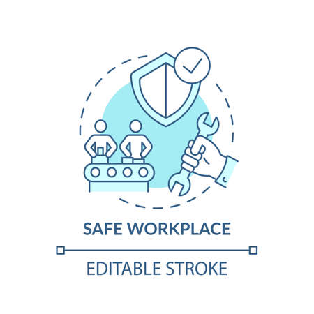 Safe workplace concept icon. Workplace safety elements. Everyday safety for emloyee life. Health care strategy idea thin line illustration. Vector isolated outline RGB color drawing. Editable stroke