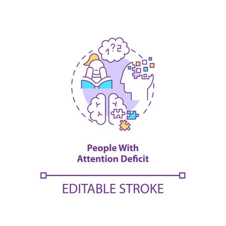 People with attention deficit concept icon. SAD risk group idea thin line illustration. Attention deficit hyperactivity disorder. Vector isolated outline RGB color drawing. Editable stroke
