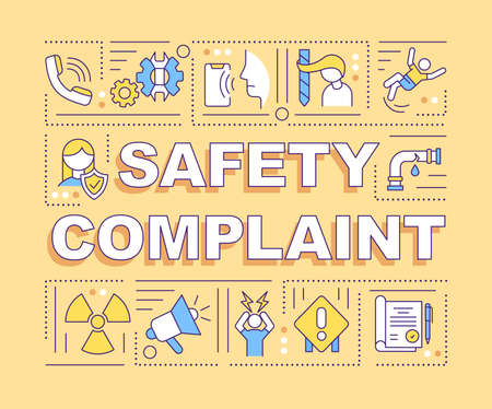 Safety complaint word concepts banner. Unsafe working conditions. Work-related injuries. Infographics with linear icons on yellow background. Isolated typography. Vector outline RGB color illustration