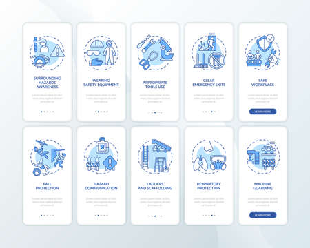 Workplace safety onboarding mobile app page screen with concepts set. Wearing safety equipment walkthrough 10 steps graphic instructions. UI vector template with RGB color illustrations 向量圖像