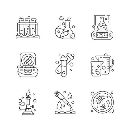 Lab equipment linear icons set. Holding upright multiple test tubes. Chemical droppers. Petri dish. Customizable thin line contour symbols. Isolated vector outline illustrations. Editable stroke