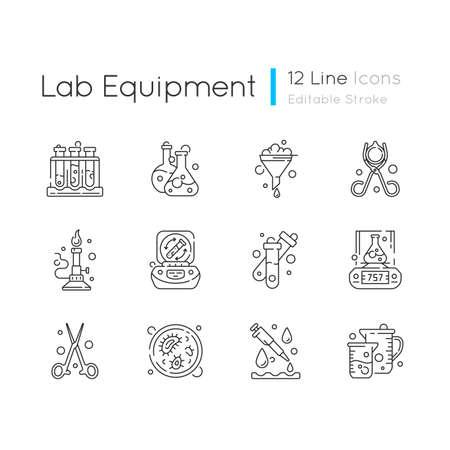 Lab equipment linear icons set. Test tube rack. Chemistry glassware. Petri dish. Bunsen burner. Customizable thin line contour symbols. Isolated vector outline illustrations. Editable stroke Illustration