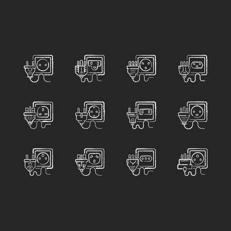 Sockets black glyph icons set on white space. Power outlet types. Unplug cables from electricity source. Voltage for home appliance. Energy generation. Silhouette symbols. Vector isolated illustration Vecteurs
