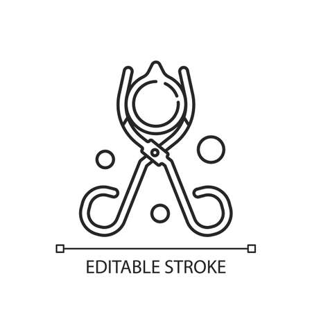 Beaker tongs linear icon. Handling hot and cold beakers. Lab equipment. Scissor-like tool. Thin line customizable illustration. Contour symbol. Vector isolated outline drawing. Editable stroke
