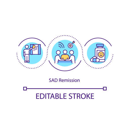 Sad remission concept icon. Medical depression treatment advices. Seasonal affective disorder idea thin line illustration. Vector isolated outline RGB color drawing. Editable stroke Vektorové ilustrace