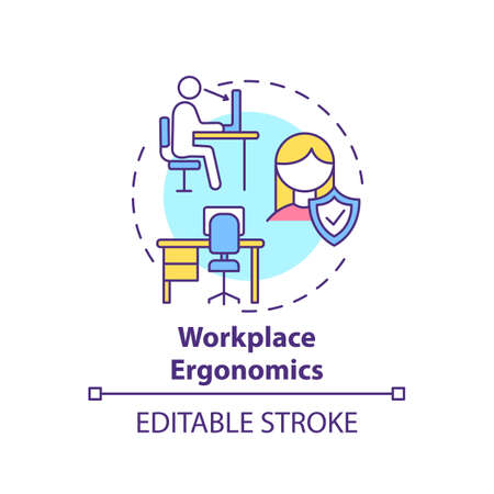 Workplace ergonomics concept icon. Workplace safety concerns. Keeping all capabilities and limitations of worker idea thin line illustration. Vector isolated outline RGB color drawing. Editable stroke