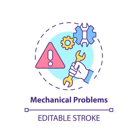 Mechanical problems concept icon. Workplace safety concerns. Problems with different technical instruments idea thin line illustration. Vector isolated outline RGB color drawing. Editable stroke