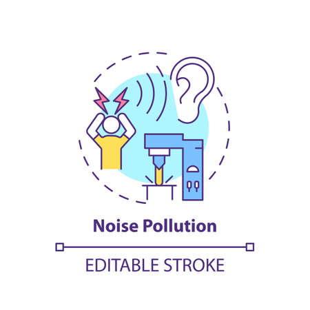 Noise pollution concept icon. Workplace safety concerns. Damaging your ears while working. Convinient job place idea thin line illustration. Vector isolated outline RGB color drawing. Editable stroke