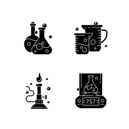 Lab tools black glyph icons set on white space. Liquid volume measurement. Bunsen burner. Lab balance. Laboratory vessel and container. Silhouette symbols. Vector isolated illustration