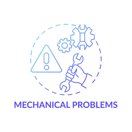 Mechanical problems concept icon. Workplace safety concerns. Troubles with different professional technical tools idea thin line illustration. Vector isolated outline RGB color drawing