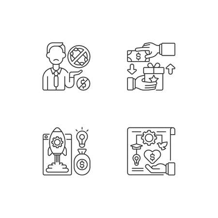 Crowdfunding issues linear icons set. Reward based crowdfunding. Donor exhaustion issues. Profit project. Customizable thin line contour symbols. Isolated vector outline illustrations. Editable stroke 向量圖像