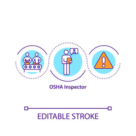OSHA inspector concept icon. Safety and health officers idea thin line illustration. Identifying unsafe working conditions. Vector isolated outline RGB color drawing. Editable stroke Ilustracje wektorowe