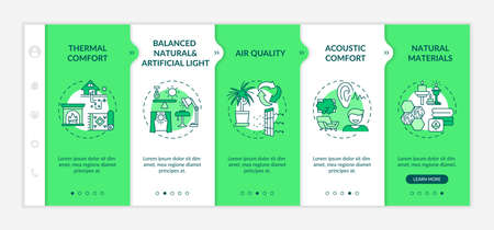 Comfort house space design onboarding vector template. Balanced natural and artificial light. Responsive mobile website with icons. Webpage walkthrough step screens. RGB color concept