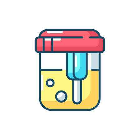 Urine analysis RGB color icon. Urinalysis result. Healthcare checkup. Kidney health examination, diabetes diagnostic. Pee sample in container. Hospital diagnosis. Isolated vector illustration